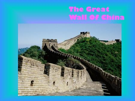 The Great Wall Of China. The Great Wall Of China is the largest handmade monument ever to be built. It is the only one visible from space.