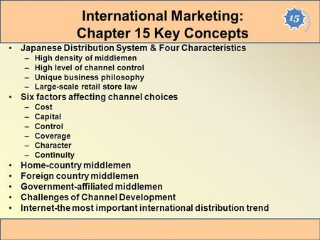 International Marketing: Chapter 15 Key Concepts
