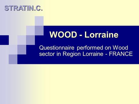 WOOD - Lorraine Questionnaire performed on Wood sector in Region Lorraine - FRANCE STRATIN.C.