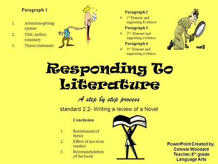Responding To Literature A step by step process standard 2.2- Writing a review of a Novel Paragraph 1 1.Attention-getting opener 2.Title, author, summary.