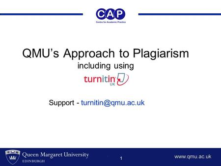 1 QMU's Approach to Plagiarism including using Support -
