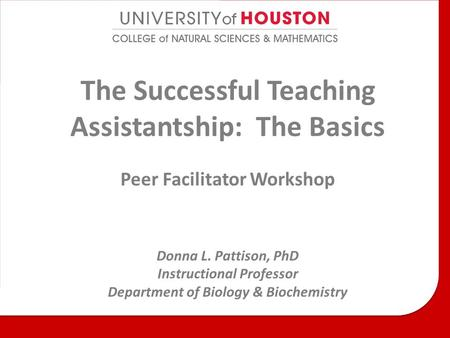 The Successful Teaching Assistantship: The Basics