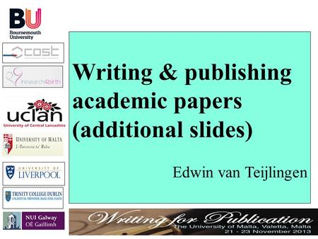 publishing academic papers How to get published in an academic journal: when you read published papers you only see the enter the guardian university awards 2015 and join the higher.