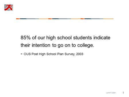 June 17, 2004 1 85% of our high school students indicate their intention to go on to college. - OUS Post High School Plan Survey, 2003.