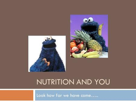 NUTRITION AND YOU Look how far we have come…... Review what the basics are as far as nutrition…. and then what a serving size looks like…  Learning Targets: