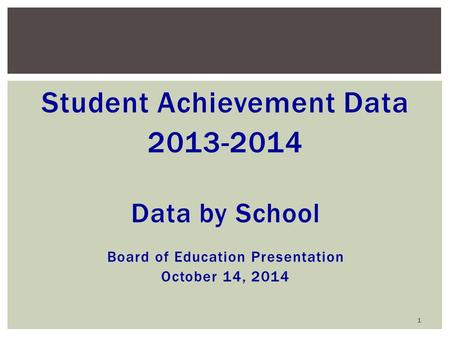Student Achievement Data 2013-2014 Data by School Board of Education Presentation October 14, 2014 1.