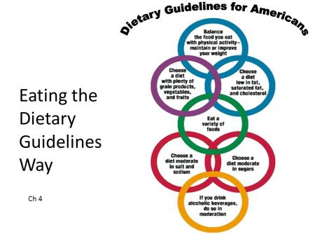 Eating the Dietary Guidelines Way Ch 4. 2 Dietary Guidelines Advice about food choices for all healthy people age 2 or over Eating plan is also called.