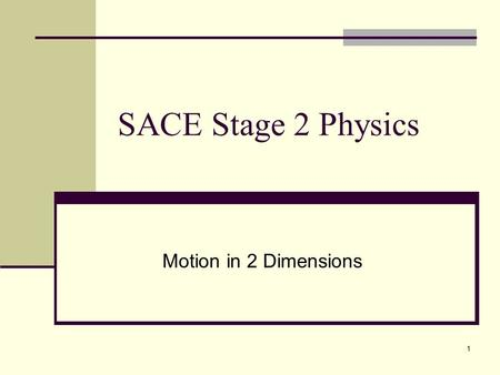 1 SACE Stage 2 Physics Motion in 2 Dimensions. 2 Motion in 2 - Dimensions Errors in Measurement Suppose we want to find the area of a piece of paper (A4)