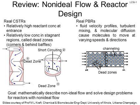 L23b-1 Slides courtesy of Prof M L Kraft, Chemical & Biomolecular Engr Dept, University of Illinois, Urbana-Champaign. Review: Nonideal Flow & Reactor.