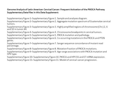 Genome Analysis of Latin American Cervical Cancer: Frequent Activation of the PIK3CA Pathway Supplementary Data Files in this Data Supplement: Supplementary.