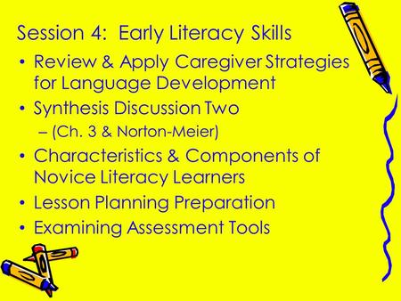 Session 4: Early Literacy Skills Review & Apply Caregiver Strategies for Language Development Synthesis Discussion Two –(Ch. 3 & Norton-Meier) Characteristics.