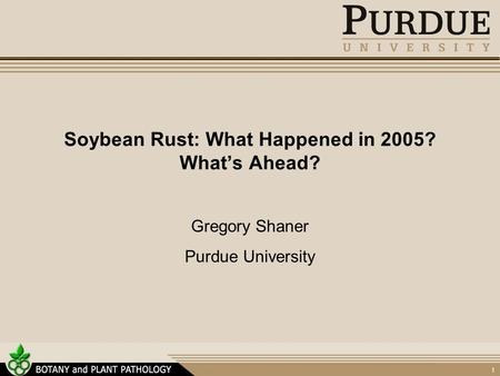 1 Soybean Rust: What Happened in 2005? What's Ahead? Gregory Shaner Purdue University.