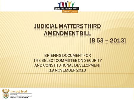 BRIEFING DOCUMENT FOR THE SELECT COMMITTEE ON SECURITY AND CONSTITUTIONAL DEVELOPMENT 19 NOVEMBER 2013.