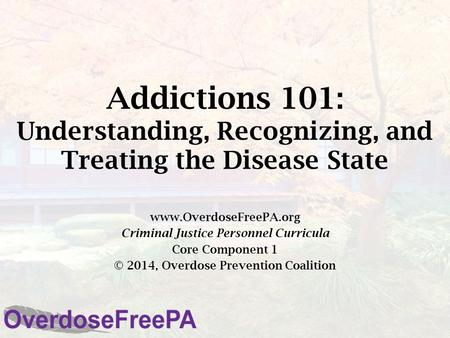 Addictions 101: Understanding, Recognizing, and Treating the Disease State www.OverdoseFreePA.org Criminal Justice Personnel Curricula Core Component 1.