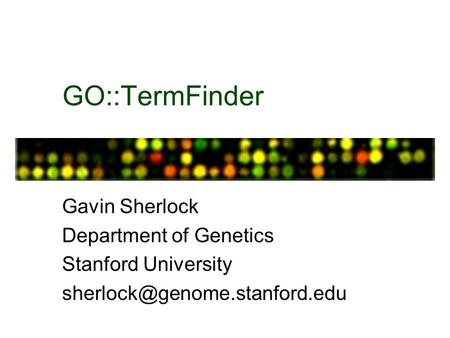 GO::TermFinder Gavin Sherlock Department of Genetics Stanford University