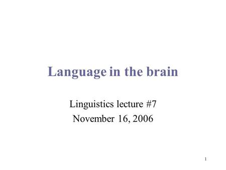 1 Language in the brain Linguistics lecture #7 November 16, 2006.