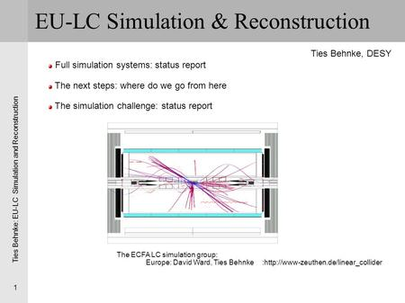 Ties Behnke: EU-LC Simulation and Reconstruction 1 EU-LC Simulation & Reconstruction Full simulation systems: status report The next steps: where do we.