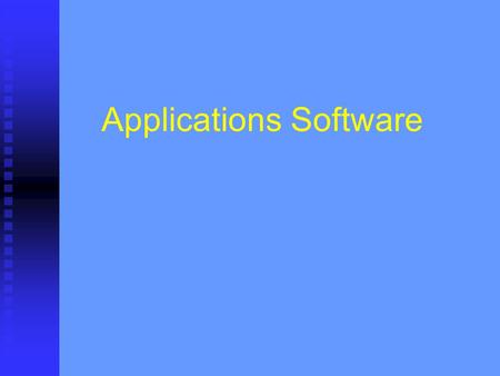 Applications Software. Applications software is designed to perform specific tasks. There are three main types of application software: Applications packages.