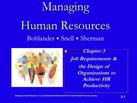Managing Human Resources, 12e, by Bohlander/Snell/Sherman © 2001 South-Western/Thomson Learning 3-1 Managing Human Resources Managing Human Resources Bohlander.