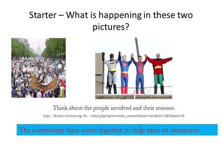 Starter – What is happening in these two pictures? Think about the people involved and their reasons.