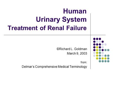 Human Urinary System Treatment of Renal Failure ©Richard L. Goldman March 9, 2003 from: Delmar's Comprehensive Medical Terminology.