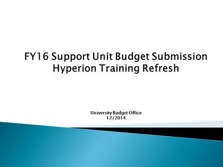 FY16 Support Unit Budget Submission Hyperion Training Refresh University Budget Office 12/2014.