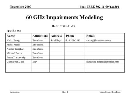 Doc.: IEEE 802.11-09/1213r1 Submission November 2009 Vinko Erceg, BroadcomSlide 1 60 GHz Impairments Modeling Date: 2009-11-19 Authors: NameAffiliationsAddressPhoneEmail.