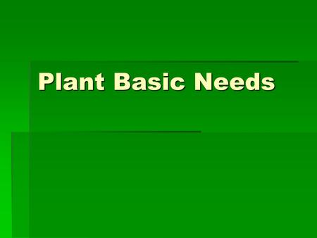 Plant Basic Needs. Core Content  Biological Science SC-04-3.4.1  Students will:  compare the different structures and functions of plants and animals.