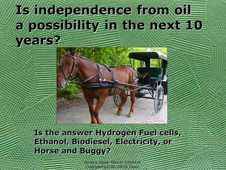 Is independence from oil a possibility in the next 10 years? Is the answer Hydrogen Fuel cells, Ethanol, Biodiesel, Electricity, or Horse and Buggy? Andrew.