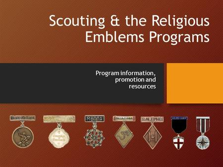 Scouting & the Religious Emblems Programs Program information, promotion and resources.