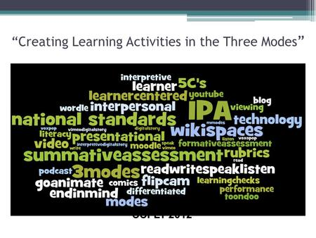 """Creating Learning Activities in the Three Modes "" CCFLT 2012."