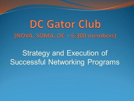 Strategy and Execution of Successful Networking Programs.