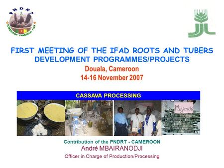 FIRST MEETING OF THE IFAD ROOTS AND TUBERS DEVELOPMENT PROGRAMMES/PROJECTS Douala, Cameroon 14-16 November 2007 Contribution of the PNDRT - CAMEROON André.