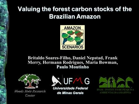 Valuing the forest carbon stocks of the Brazilian Amazon Universidade Federal de Minas Gerais UF G Woods Hole Research Center IPAM – INSTITUTO DE PESQUISA.