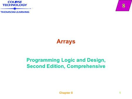 8 Chapter 81 Arrays Programming Logic and Design, Second Edition, Comprehensive 8.