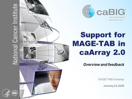 Support for MAGE-TAB in caArray 2.0 Overview and feedback MAGE-TAB Workshop January 24, 2008.