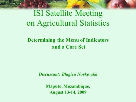 ISI Satellite Meeting on Agricultural Statistics Determining the Menu of Indicators and a Core Set Discussant: Blagica Novkovska Maputo, Mozambique, August.