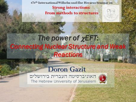 The power of  EFT: Connecting Nuclear Structure and Weak Reactions Doron Gazit 474 th International Wilhelm und Else Heraeus Seminar on Strong interactions: