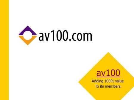 Av100 Adding 100% value To its members.. In a Nutshell  The Business: creating a business community to facilitate the needs of small and medium sized.