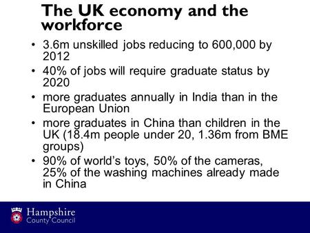 The UK economy and the workforce 3.6m unskilled jobs reducing to 600,000 by 2012 40% of jobs will require graduate status by 2020 more graduates annually.