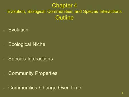 1 Chapter 4 Evolution, Biological Communities, and Species Interactions Outline Evolution Ecological Niche Species Interactions Community Properties Communities.