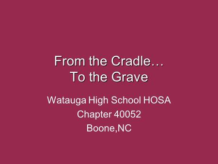 From the Cradle… To the Grave Watauga High School HOSA Chapter 40052 Boone,NC.