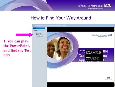 How to Find Your Way Around 1. You can play the PowerPoint, and find the Test here EXAMPLE COURSE.
