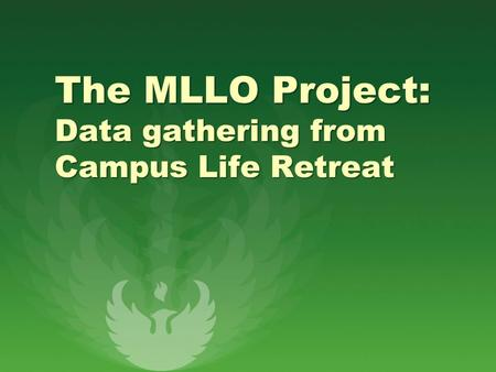 The MLLO Project: Data gathering from Campus Life Retreat.
