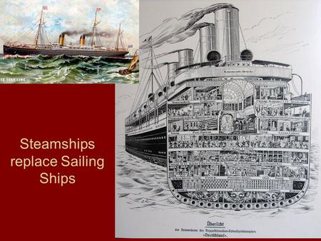 Steamships replace Sailing Ships. Improvements in Steerage.