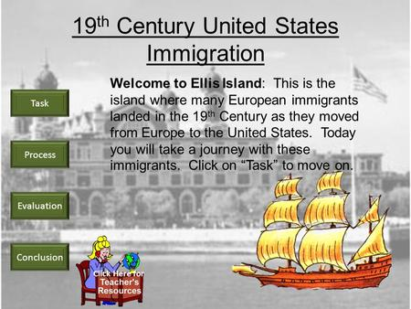 Task Process Evaluation Conclusion 19 th Century United States Immigration Welcome to Ellis Island: This is the island where many European immigrants.
