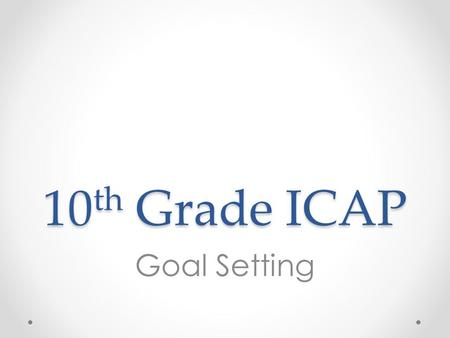 10 th Grade ICAP Goal Setting. Overview 1.Review Career Cluster survey results 2.Review CTE Plans of Study 3.Use Plans of Study to explore career, program,