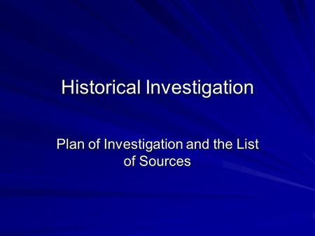 plan of investigation 150 essay