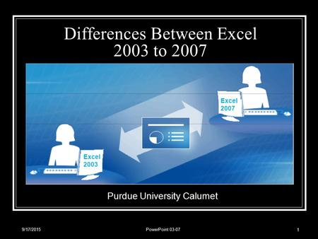 9/17/2015PowerPoint 03-07 1 Differences Between Excel 2003 to 2007 Purdue University Calumet Excel 2003 Excel 2007.