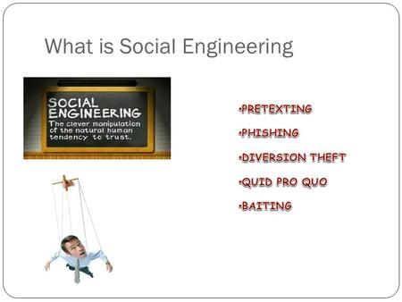 What is Social Engineering. Pretexting Pretexting is the act of creating and using an invented scenario called the Pretext to persuade a target to release.